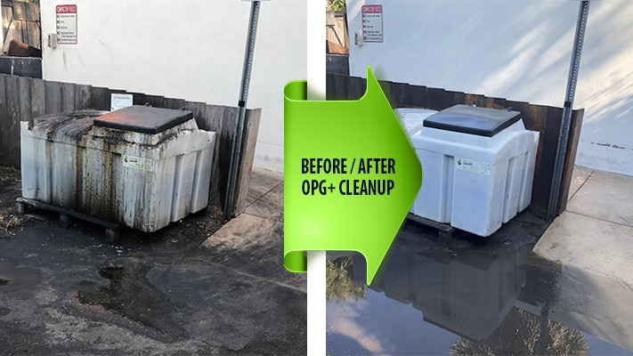 Grease Cleanup before and after photo